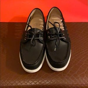 Women's Black Leather Speer Top-Sider Size 8.5M
